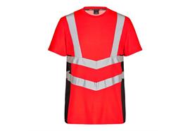 ENGEL Safety Kurzarm Shirt rot/schwarz - Grösse 6XL Übergrösse