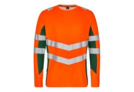 ENGEL Safety Langarm Shirt, orange/grün - Grösse M