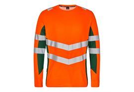 ENGEL Safety Langarm Shirt, orange/grün - Grösse S