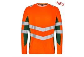 ENGEL Safety Langarm Shirt orange/grün