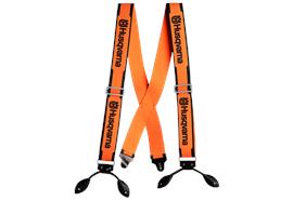 Husqvarna Hosenträger orange, mit Lederschlaufen, extra breit