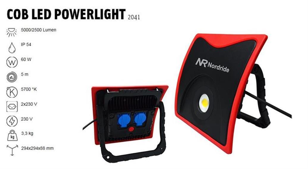 Nordride COB LED Powerligth 230 V 60 W 5 m Kabel 2x integrierte Steckdose