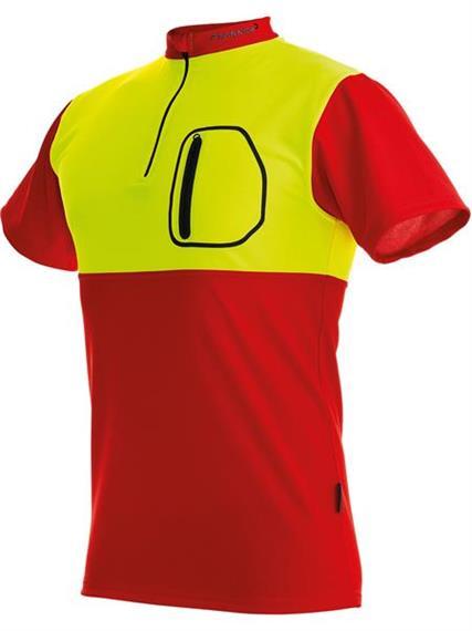 Pfanner ZIPP-NECK Shirt kurzarm neon/rot - Grösse 4XL Übergrösse