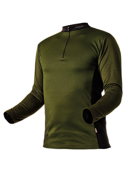 Pfanner ZIPP-NECK Shirt langarm waldgrün - Grösse L